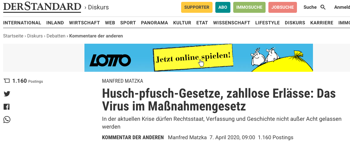 Screenshot der Website: https://www.derstandard.at/story/2000116589247/husch-pfusch-gesetze-zahllose-erlaesse-das-virus-im-massnahmengesetz?ref=article
