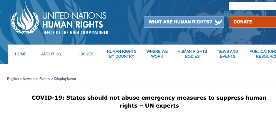 Screenshot der Website ohchr.org