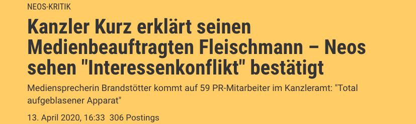 Screenshot der Seite: der standard.at