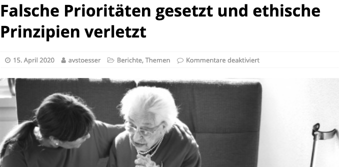 Screenshot der Webseite pflegeethik-initiative.de