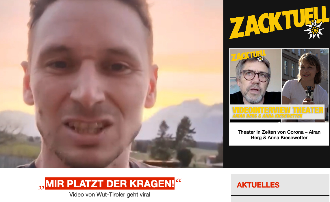 Screenshot der Webseite zackzack.at
