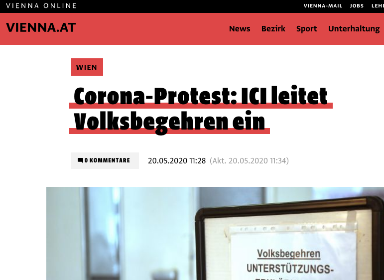 Screenshot der Webseite vienna.at