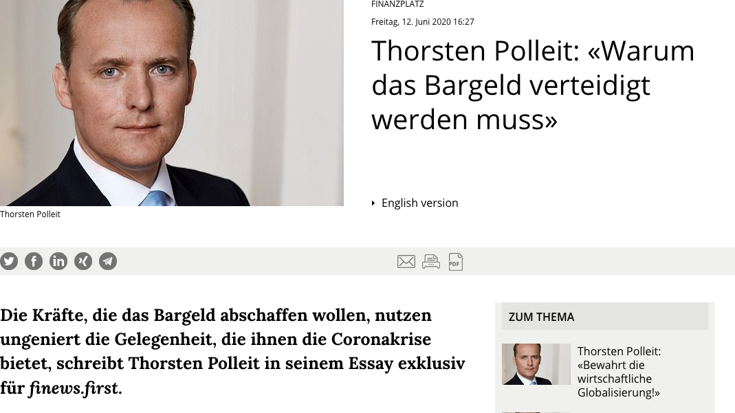 Screenshot der webseite finews.ch