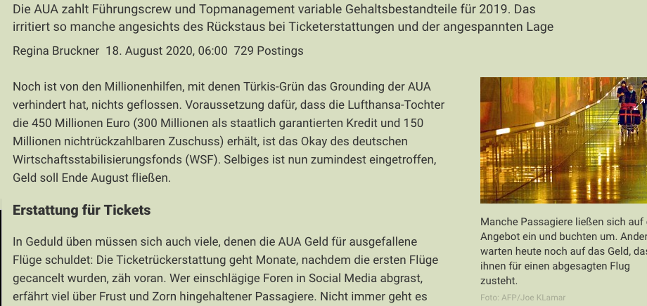 Screenshot der Webseite derstandard.at