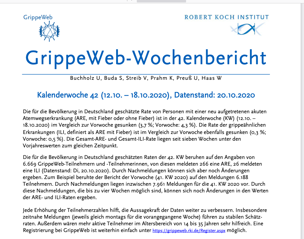 screenshot der websiete grippeweb.rki.de