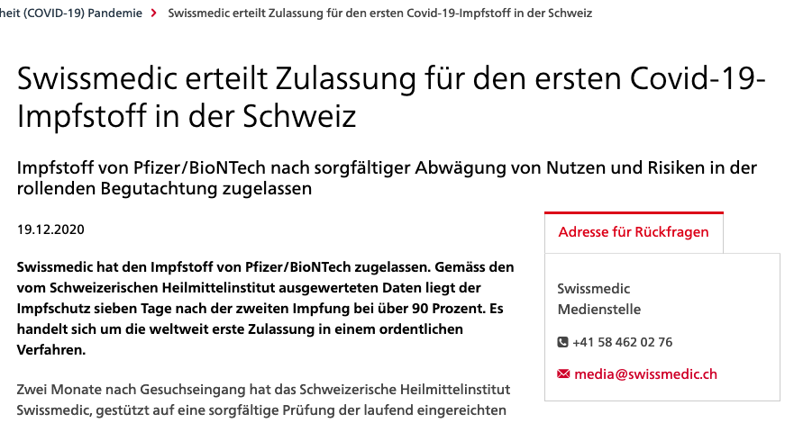 screenshot der webseite  swissmedic.ch
