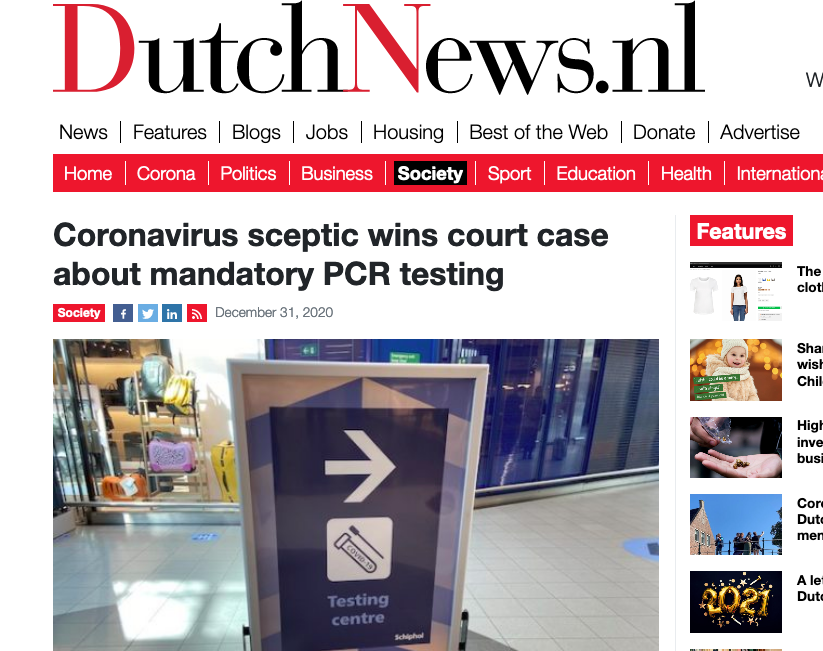 Screenshot der webseite dutchnews.nl