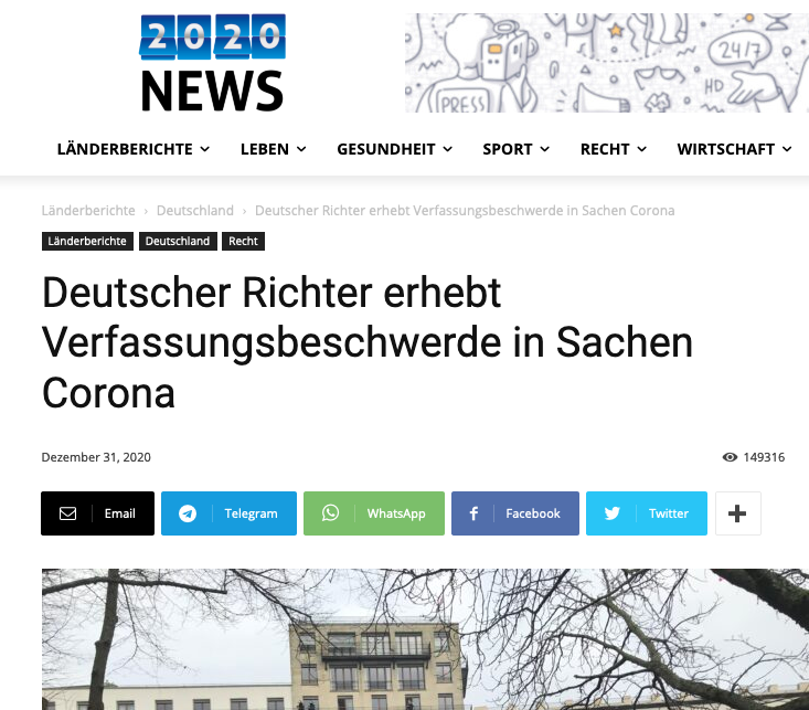 Screenshot der webseite 2020news.de
