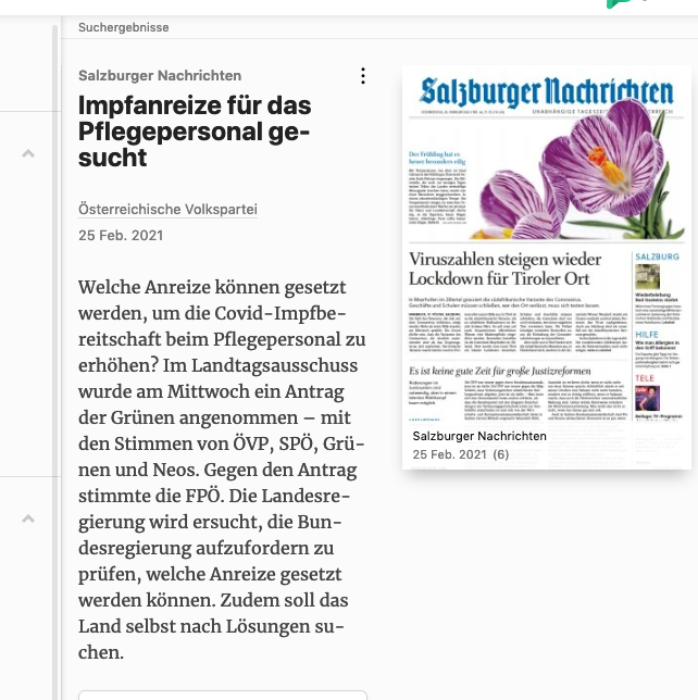 Screenshot der webseite pressreader.com